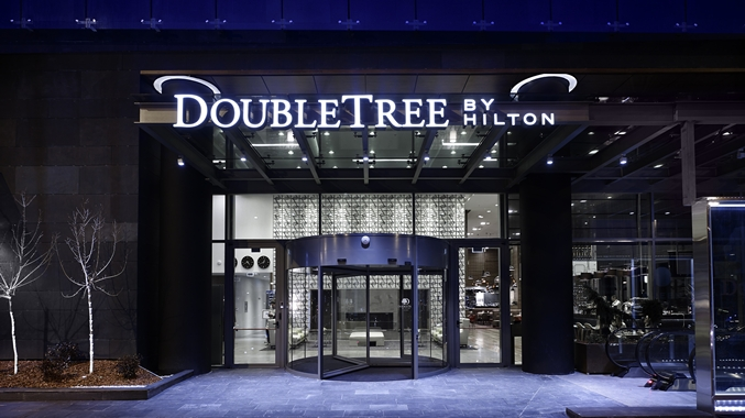 Hotel Exterior: The award-winning DoubleTree by Hilton Hotel Zagreb is ideally situated just two kilometers from the historic city center and set within the Green Gold complex, offering great shopping and dining options.